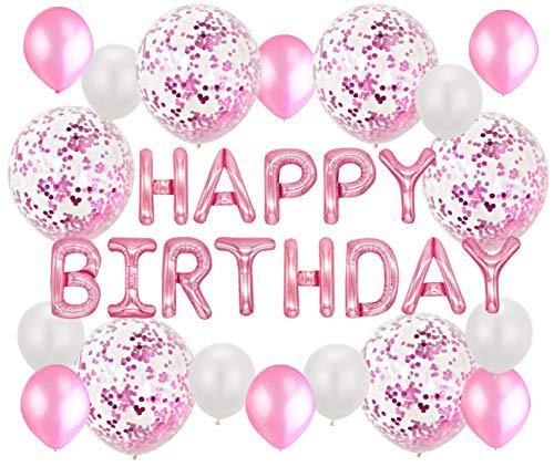 Soulstice © Kindergeburtstag, Mädchen, Happy Birthday Ballon Rosa, Geburtstagsdeko in Pink, Geburtstagsballon, Happy Birthday Girlande, Geburtstagsgirl