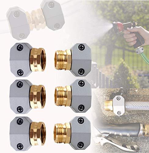 GLAMROOT 3 Pairs Garden Aluminum Hose Mender, Hose Repair Coupler, Water Hose Connector/Replacement/Mender/Clamps