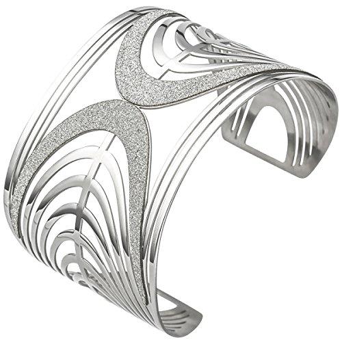 JOBO Armspange / offener Armreif aus Edelstahl mit Glitzereffekt Armband breit