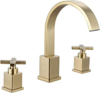 WorbWay Bathroom Faucet Brushed Gold,Two Handle 8 inch Widespread Bathroom Sink Faucet with Pop-Up Drain