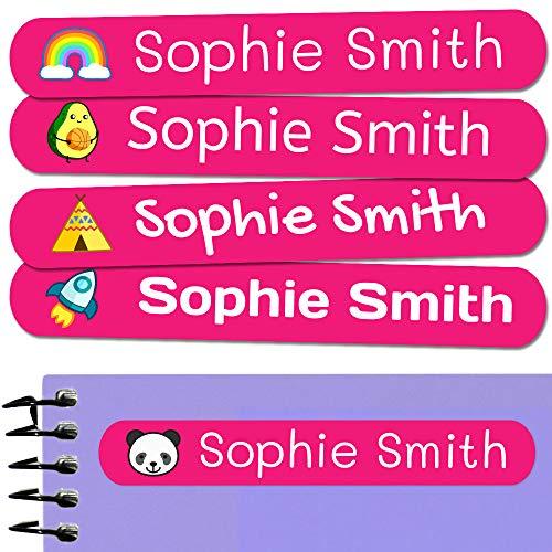 50 personalisierte Klebeetiketten, 6 x 1 cm, zur Kennzeichnung von Objekten, Büchern, Lunchboxen, etc. Color Fuchsia