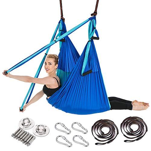 ARNTY Hamaca de Yoga Aéreo Hamacas, Antigravedad Yoga Hamaca,Yoga Trapecio para Ejercicios de Yoga Antigravedad para Aliviar el Dolor de Espalda (Azul&Azul Claro)