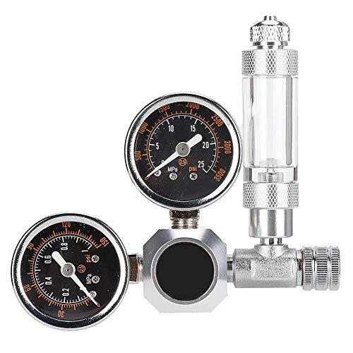 Regulador de CO2 para acuarios - Regulador de CO2 Sistema de presión ajustable para acuarios con contador de burbujas y válvula de retención (interfaz ordinaria de medidor doble w21.8)