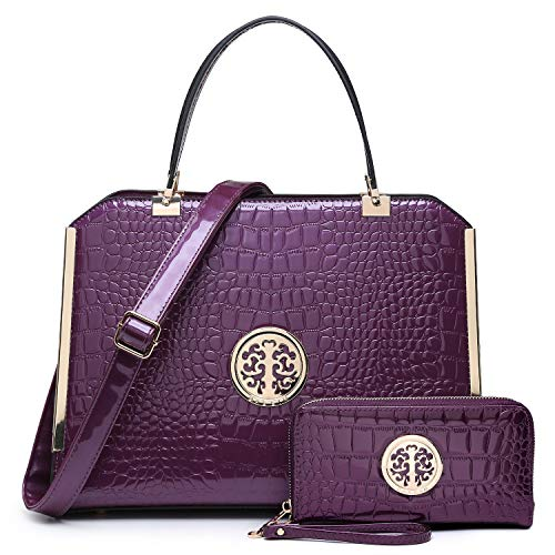 Dasein Women Large Handbag Purse Vegan Leather Satchel Work Bag Shoulder Tote with Matching Wallet (Purple Croco)