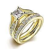Set de anillos ZUMUii Butterme de titanio 316l dorado con solitario corte princesa de circonio, anillos de compromiso, set de anillos de boda para hombre y mujer tama?o 6-9, color amarillo, tama?o #8
