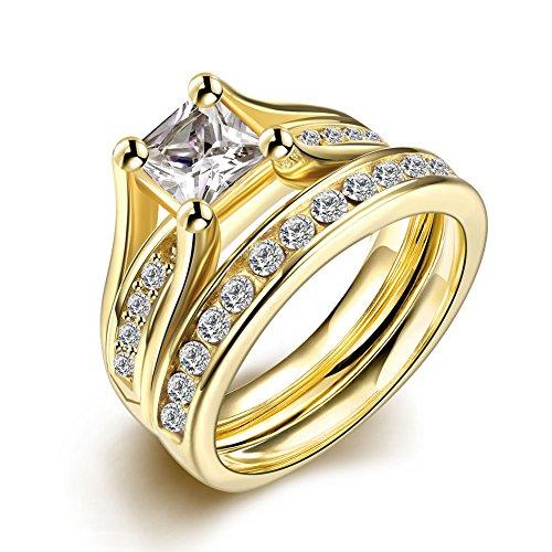 Set de anillos ZUMUii Butterme de titanio 316l dorado con solitario corte princesa de circonio, anillos de compromiso, set de anillos de boda para hombre y mujer tama?o 6-9, color amarillo, tama?o #6