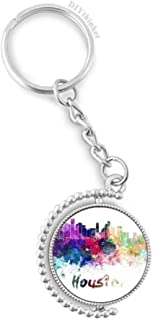 Houston America City Watercolor Rotatable Keyholder Ring Disc Accessories Chain Clip