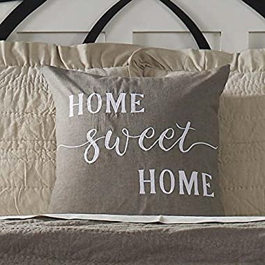 Home Sweet Home Pillow Cover, 20  x 20 , Farmhouse Style Accent Pillow with Embroidered Lettering