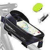 【便利な大容量◆携帯型マルチツール付き】この自転車バッグのサイズは20×11×6.3なので、収納力が抜群です。ちょっとした食料やお財布、修理工具、モバイル、自転車ライトなども入れることができる、大容量のトップチューブバッグです。軽量なので、持ち運びがやすくて、余分な圧力を引き起こさないです。また自転車バッグを購入したら、サイクリング時のトラブルに対応できる自転車用携帯型マルチツールをプレゼントします。このチャンスをお見逃しなく♪ 【6.5インチ以下のスマホに対応◆高感度!スマホをナビ代わりに】ト...