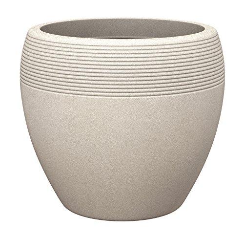 Scheurich Lineo, Pflanzgefäß aus Kunststoff, Sand, 48 cm Durchmesser, 39 cm hoch, 50 l Vol.