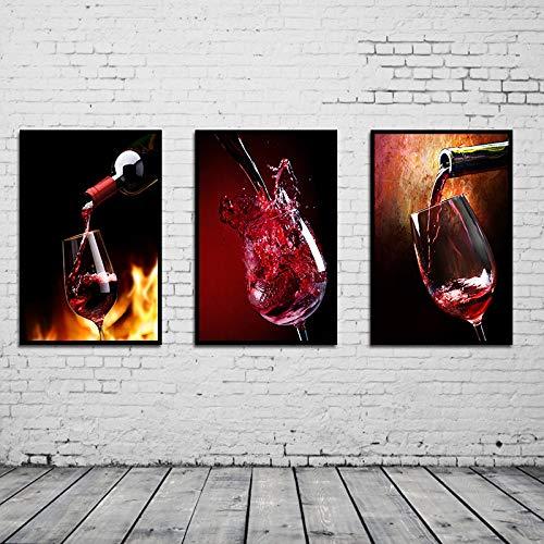WSNDGWS Triple Rode Wijn Canvas Schilderij Restaurant Huisdecoratie Canvas Schilderij Muur Schilderij Geen Beeld Frame 60x90cmx3 A6
