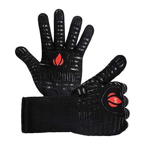 Menhoud BBQ Cooking Glove 932°F Extreme Heat Resistant oven gloves For Cooking, Grilling, Baking (Small Flame-Gloves)