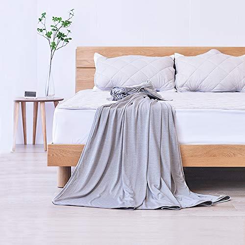 Elegear 2in1 Mikrofaser Selbstkühlende Decke, Kühldecke Kuscheldecke aus Baumwolle Weiche Wohndecke Warm Sofadecke Reisedecke zweiseitige Decke für Erwachsene und Kinder - Grau 220 x 200 cm