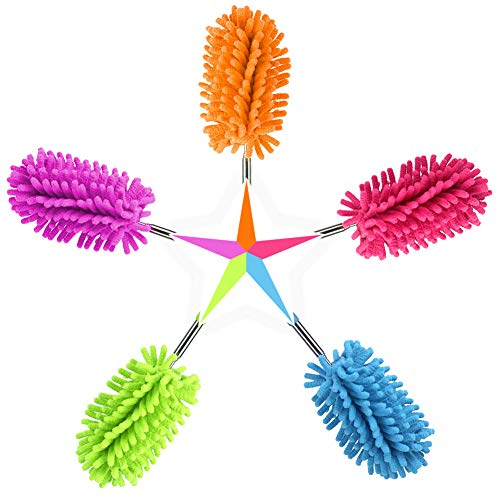 """Washable Dusters for Cleaning, Phoenixes Feather Duster Extendable Dusting Wand 11""""-30"""", Wet or Dry Use (5 Pcs)"""