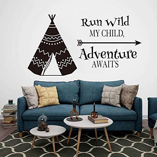 Pegatinas de pared para el aula, tienda de campaña Tipi Cita Boy Kids Run Wild Adventure Aguarda Cita Cama Impresión moderna Picture Office Hanging Home Painting para la pared