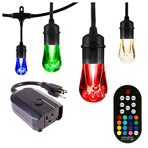 Enbrighten Works with Alexa WiFi Outdoor String Lights Kit: Vintage LED Color Changing Café Lights (48ft. 24 LED Bulb) + myTouchSmart WiFi Smart Plug, No Hub Required, Mobile and Voice Control, 45067