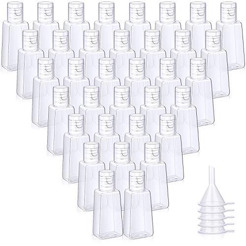 100 Botellas Vacías de Navidad con Tapa Abatible Contenedor de Viaje Botella de Plástico de 1 oz/ 30 ml con 5 Embudos de Transferencia para Líquidos, Lociones, Cremas, Champú y Artículos de Tocador