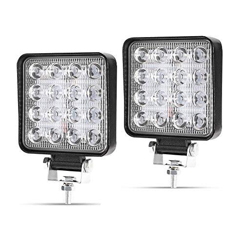 LED Arbeitsscheinwerfer, 2 X 48W Quadrat LED Offroad Zusatzscheinwerfer 12V 24V Scheinwerfer IP67 Wasserdicht Rückfahrscheinwerfer für Trecker KFZ Bagger SUV, UTV, ATV