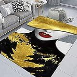 WZZSKE Alfombra de Design Moderno de Pelo Corto Alfombra Lavable Antideslizante Súper Suave para salón Dormitorio Comedor etc Labios Rojos de Belleza Negro Amarillo Alfombra Tamaño: 60 x 90 cm