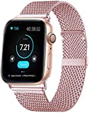 MouKou - Cinturino per Apple Watch Serie 5/4/3/2/1, 38 mm, 40 mm, 42 mm, 44 mm, maglia milanese con chiusura magnetica, cinturino di ricambio in acciaio inox, Rosa-nuovo, 40MM/38MM