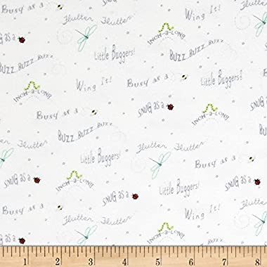 Ink & Arrow Fabrics Ink & Arrow Little Buggers Flannel Words White