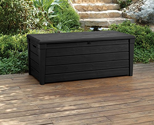 Keter Brightwood 120 Gallon Resin Large Deck Box for Patio Garden Furniture, Outdoor Cushion Storage, Pool Accessories, and Toys, Grey