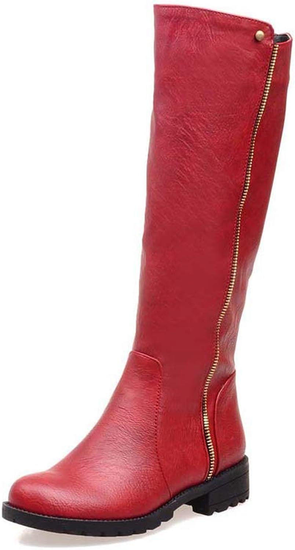 Hoxekle Motorcycle Autumn Winter kvinnor Boot Knee High Zip skor skor skor for kvinnor Low Heel Martin stövlar Kvinnlig svart  factory outlet online rabatt försäljning