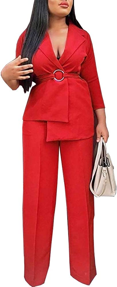 nuoshang Women's 2 Pieces Set Blazer with Waist Belt and Casual Pants Suits