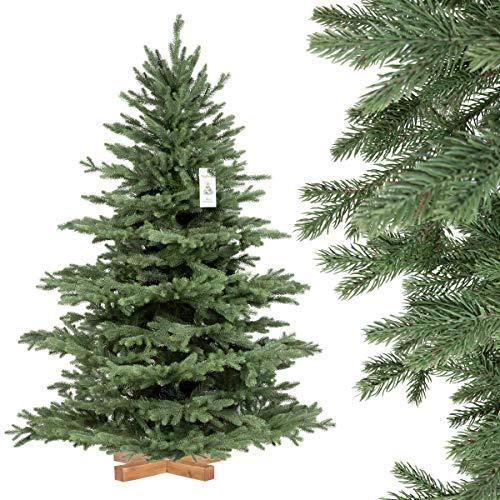 FairyTrees künstlicher Weihnachtsbaum ALPENTANNE Premium, Material Mix aus Spritzguss & PVC, Ständer aus Holz, 150cm, FT17-150