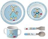 Sigikid Melamin Geschirr-Set Hase Semmel Bunny Geschenkset Tasse Schale Teller Besteck zur Geburt Taufe Geburtstag hellblau