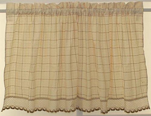 The_Curtain_Shop Adirondack Homespun Ensemble 100% Cotton Ecru/Toast 36 Length Tier
