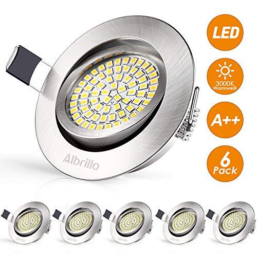 Albrillo 6er Set LED Einbaustrahler Ultra Flach - 3.5W 400LM Einbauspot Schwenkbar mit 68 LEDs, 3000K Warmweiß Deckenspot aus Metall Matt Nickel, Deckeneinbauleuchte für Schlafzimmer Wohnzimmer Küche