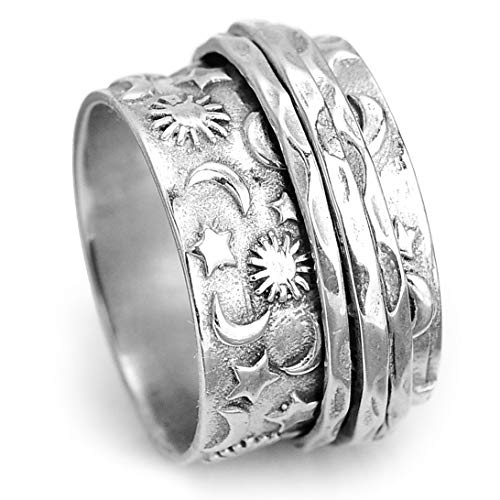 Boho-Magic 925 Sterling Silver Spinner Sun and Moon Ring for Women Fidget Anxiety Relief Wide Band (8)
