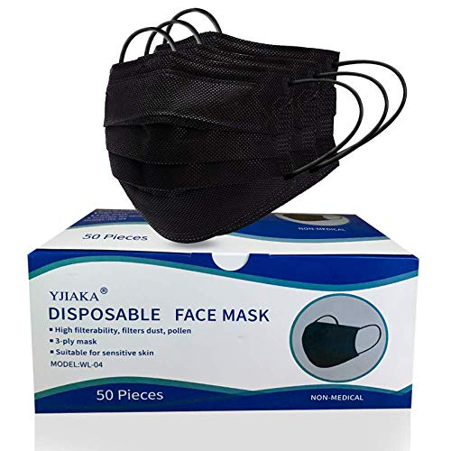 Yjiaka Disposable Black Face Masks 3 Ply for Protection Breathable Mouth Cover with Adjustable Nose Clip and Elastic Earloops for Outdoor/Office/Traveling - 50 Pcs (Black)