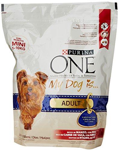 Purina One Mini Crocchette per il Cane, Adult, Ricco in Manzo, con Riso, per Cani fino a 10 kg, 800 g