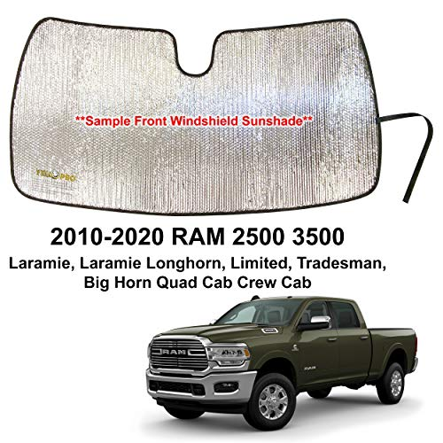 YelloPro Custom Fit Automotive Reflective Front Windshield Sunshade for 2010 2011 2012 2013 2014 2015 2016 2017 2018 2019 2020 Dodge RAM 2500 3500 QuadCab CrewCab
