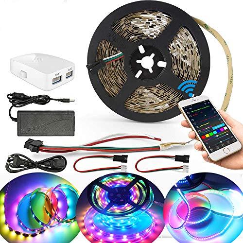 5M WiFi Dreamcolor LED Strip Streifen,5050 300leds Multicolor Chasing Effekt Selbstklebend Band Full Kit,LED Leiste Lichtstreifen Sync mit Musik,kompatibel mit Alexa Google Assistant