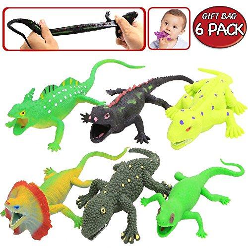Spielzeuge in Form von Eidechsen,Gummiset 9 inch (6 Packungen),Sicherheitsmaterial TPR,super dehnbar,mit einem geschenkten Lernkasten,Spielzeugfiguren,Badespielzeuge,Gecko,Chameleon,Komodowaran