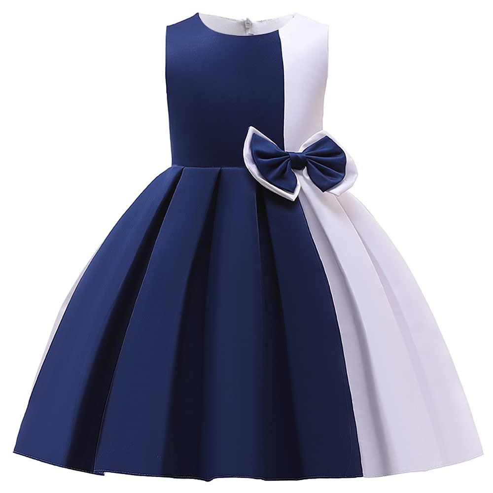 Easter Christmas Dresses for Little Girls Toddler Kids Flower Girl Dress Size 8 9 Years Teen Elegant Party Paegant Princess Birthday Formal Ball Gown Fairy Dresses Navy Blue 150