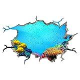 Pegatinas De Pared Acuario Coral Océano Peces Mar Smashed Calcomanía Art Hole Room Vinilos 3D Pegatinas De Pared 50x70 cm