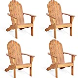 Giantex Adirondack Chair Outdoor Wooden W/Ergonomic Design Acacia Chair for Yard, Patio, Garden, Poolside and Balcony Adirondack Deck Lounge Chair Armchair (4, Natural)