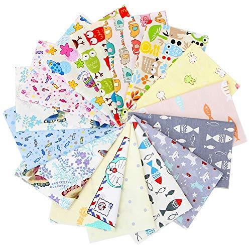 Lobboy Telas 19 * 24cm DIY Hecho a Mano de Tela Grupo Tela Cabeza Ropa de la muñeca del algodón del Remiendo Floral Grupo de Tela 15 Piezas/Grupo (Color : 19 * 24CM 14)