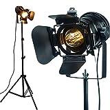 CangNingShang 2 lámparas Lámpara de pie ajustable con trípode retro industrial vintage, cable de 5 metros con interruptor de pie luz para sala de estar, dormitorio, oficina, barra, iluminación