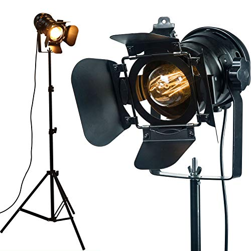 CangNingShang 2 Sets (2 pcs) Vintage Industrial Black Retro Tripod Adjustable Floor Lamp, 5 Meter Cable with Foot Switch Parking Light Tripod for Living Room Bedroom Office Bar Lighting, 2 Lamps
