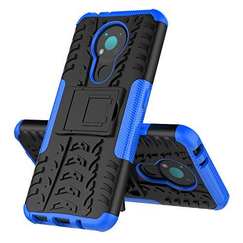 MingMing Rugged Armor Schutzhülle für Nokia 3.4 Hülle Handy Tasche Hybrid Hülle Schutz Handyhülle Panzer TPU Silikon Hard Cover Bumper für Nokia 3.4-Blau