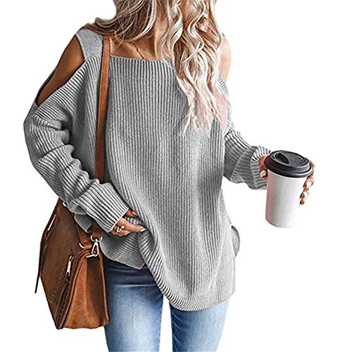 ZFQQ Autumn and Winter Knitted Sweater Plus Size Off-Shoulder Long-Sleeved Sweater Gray