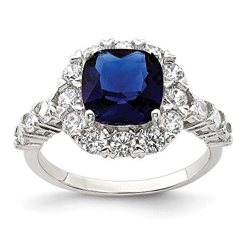 925 Sterling Silver Blue Glass Cubic Zirconia Cz Band Ring Size 8.00 Fine Jewelry For Women Gifts For Her
