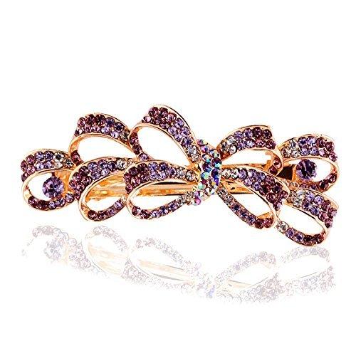(Purple) - So Beauty Women's Multi Bowknot Shaped Rhinestone Hair Barrette Clip Accessary Purple