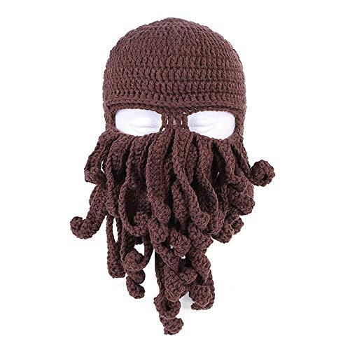 Octopus Tentacle Strickmütze, Octopus Beard Beanie Hat Caps, Winter Windproof Warm Octopus Hat, Kreativitätsmaske für Halloween Weihnachtskostüm Cosplay