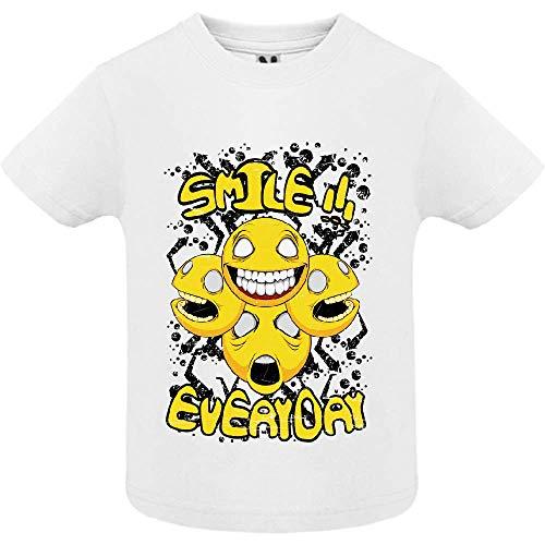 LookMyKase T-Shirt - Smile Everyday - Bébé Garçon - Blanc - 6mois